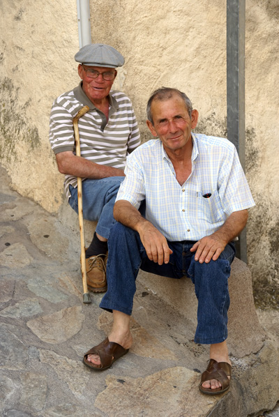 Two old guys in a Corsican mountain village in 2008